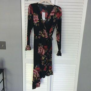 ASOS Dresses - NWT floral print ruffle asymmetric hem wrap dress